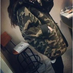 Angel Love - Camo Fleece Hooded Long Coat