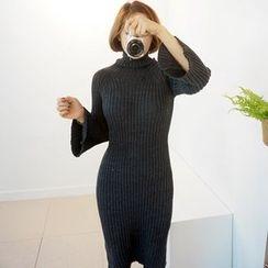 STYLEBYYAM - Turtle-Neck Bell-Sleeve Ribbed Knit Dress