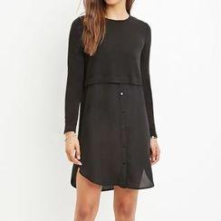Richcoco - Chiffon Panel Long-Sleeve Dress