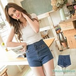 OrangeBear - Double Zipper High-Waist Denim Shorts