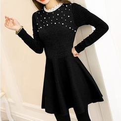 Fashion Street - Faux Pearl Lace Trim Long Sleeve Knit Dress