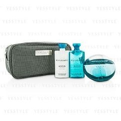 Bvlgari - Aqva Pour Homme Marine Coffret: Eau De Toilette Spray 100ml/3.4oz + Shower Gel 75ml/2.5oz + After Shave Balm 75ml/2.5oz + Pouch