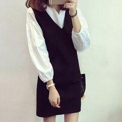 November Rain - Set: Split Neck Long Sleeve Blouse + V-Neck Tank Dress