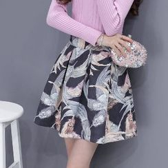 Romantica - Feather Print A-Line Skirt