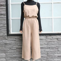 Fashion Street - Set: Plain Camisole Top + Wide Leg Pants