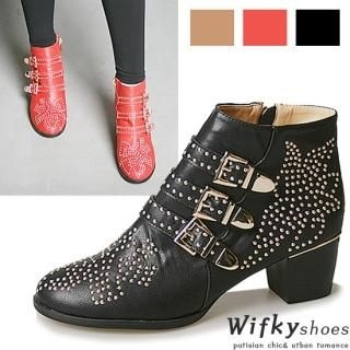 Wifky - Studded Buckled Boots