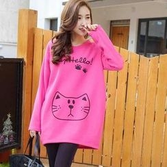 YoungBaby - Bear-Print Loose-Fit Long Top