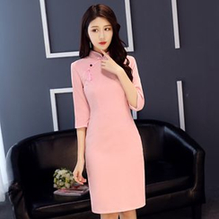 Janelle Qipao - 灯芯绒流苏扣短款旗袍