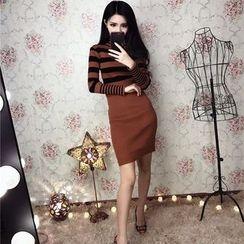 Jolly Club - Long-Sleeve Turtleneck Striped Knit Dress