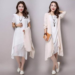 Salisha - Set: Linen-blend Short-Sleeve Dress + Light Jacket