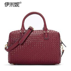 Emini House - Genuine Leather Woven Boston Bag