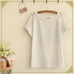 Fairyland - Short-Sleeve Lace-Trim Top
