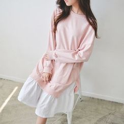 JUSTONE - Ruffle-Hem Cotton Pullover Dress