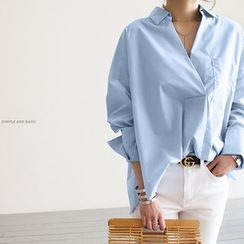 NANING9 - Long-Sleeve Open-Placket Shirt