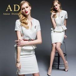 Aision - Set: Short-Sleeve Peplum Top + Pencil Skirt