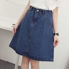 Honey House - Washed A-Line Denim Skirt