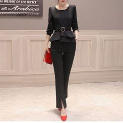 SEYLOS - Set: Long-Sleeve Peplum Top + Slit Pants