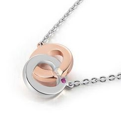 MBLife.com - 925 Sterling Silver Interlock Rings Pink Sapphire Love Lock Two Tone Necklace (16')