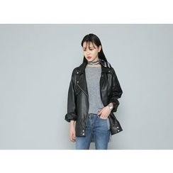 Envy Look - Faux-Leather Loose-Fit Rider Jacket