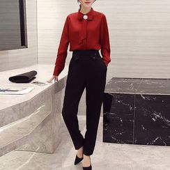 SEYLOS - Set: Stand Collar Long-Sleeve Blouse + High-Waist Pants