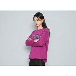 Envy Look - Lettering Fleece-Lined Sweatshirt