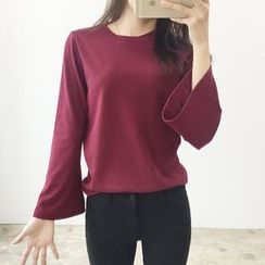 Seoul Fashion - Round-Neck Bell-Sleeve T-Shirt