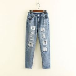Mushi - Distressed Applique Jeans