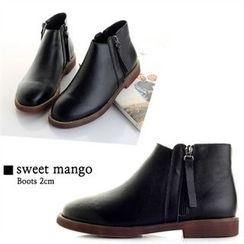 SWEET MANGO - Zip-Side Genuine-Leather Ankle Boots