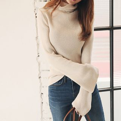 DABAGIRL - Turtle-Neck Bell-Sleeve Knit Top