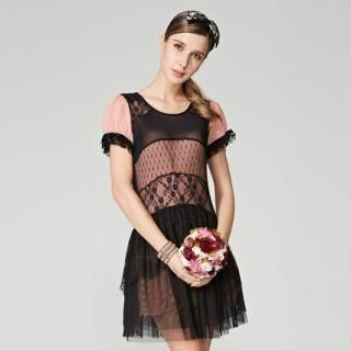 O.SA - Lace-Panel Puff-Sleeve Dress