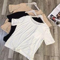 AIGIL - Elbow-Sleeve Pocketed T-Shirt