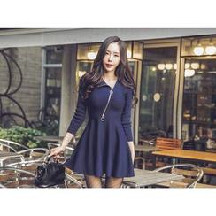 UUZONE - Zip-Front A-Line Dress