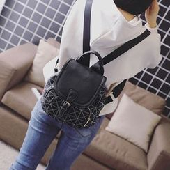 LINGLAN - Faux Leather Flap Backpack