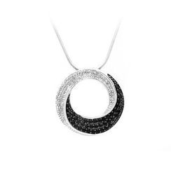 BELEC - 925 Sterling Silver Round Pendant with White and Black Cubic Zircon and Necklace