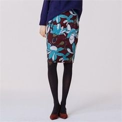 MAGJAY - Zip-Back Floral-Pattern Pencil Skirt