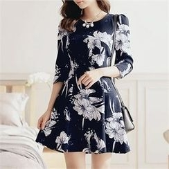 CHICLINE - A-Line Floral Print Dress