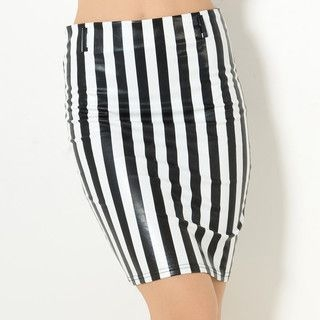YesStyle Z - Faux-Leather Striped Pencil Skirt