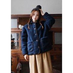 GOROKE - Contrast-Piping Buttoned Fleece Jacket
