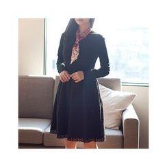 MASoeur - Knit-Panel Eyelet-Lace A-Line Dress
