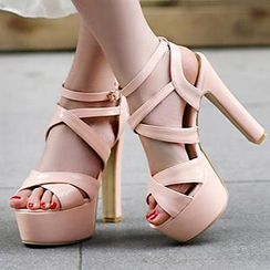 Sidewalk - Strappy Platform Heeled Sandals
