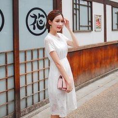 Cherryville - Short-Sleeve A-Line Lace Dress