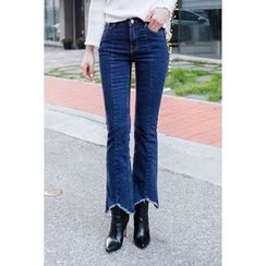 migunstyle - Frey-Hem Boot-Cut Jeans
