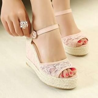 Pangmama - Lace Wedge Sandals