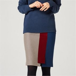 MAGJAY - Wool Blend Color-Block Skirt