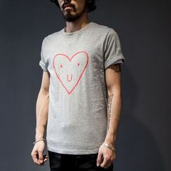 YIDESIMPLE - Heart-Print T-Shirt