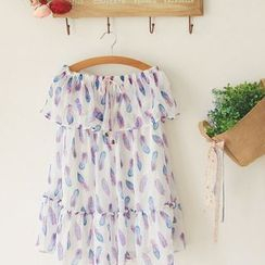 11.STREET - Feather Printed Tiered Strapless Dress