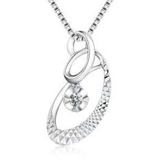 MaBelle - 18K/750 White Gold Diamond Solitaire Spiral Drop Shaped Pendant (0.07 ct) (FREE 925 Silver Box Chain)