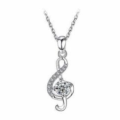 BELEC - 925 Sterling Silver Music Note Pendant with White Cubic Zircon and Necklace