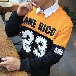 Hissse - Number Colour Block Fleece-Lined Sweatshirt