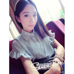 QZ Lady - Ruffle Sleeve Striped Blouse